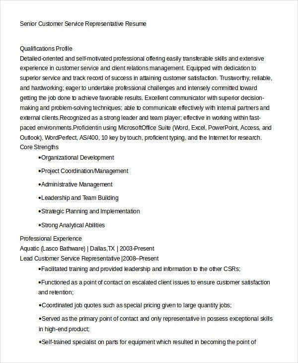 resume sample of customer service representative