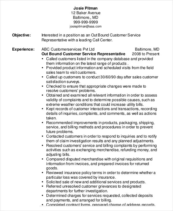 Customer Service Representative Resume - 9+ Free Sample, Example - Good Objective For Resume For Customer Service