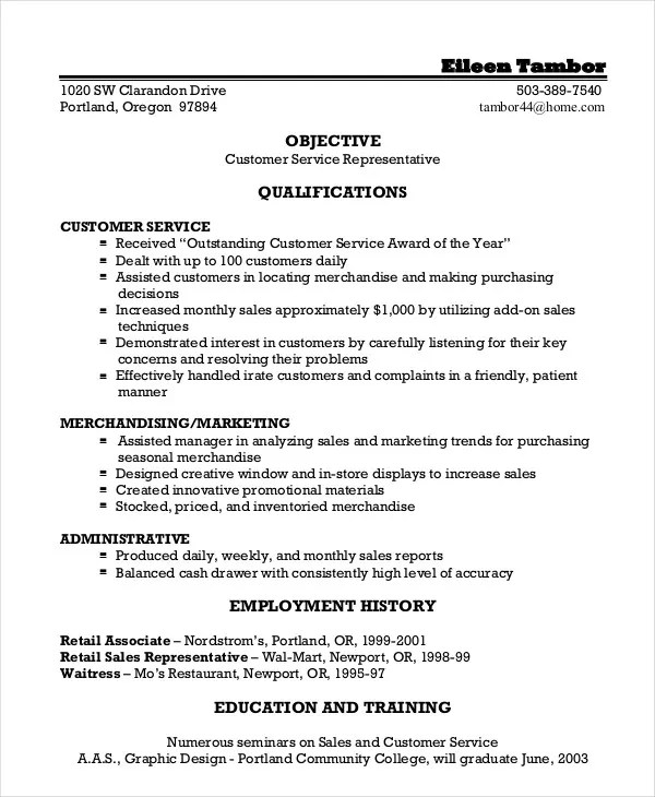certified customer service representative resume customer service