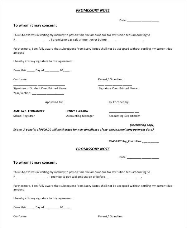 Promissory Note Sample - Free Sample, Example, Format Free - promissory agreement template