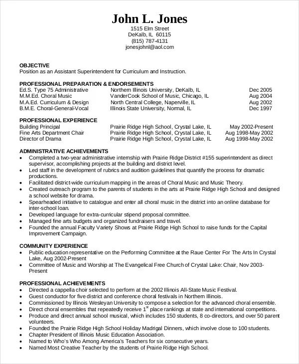 music education resume sample