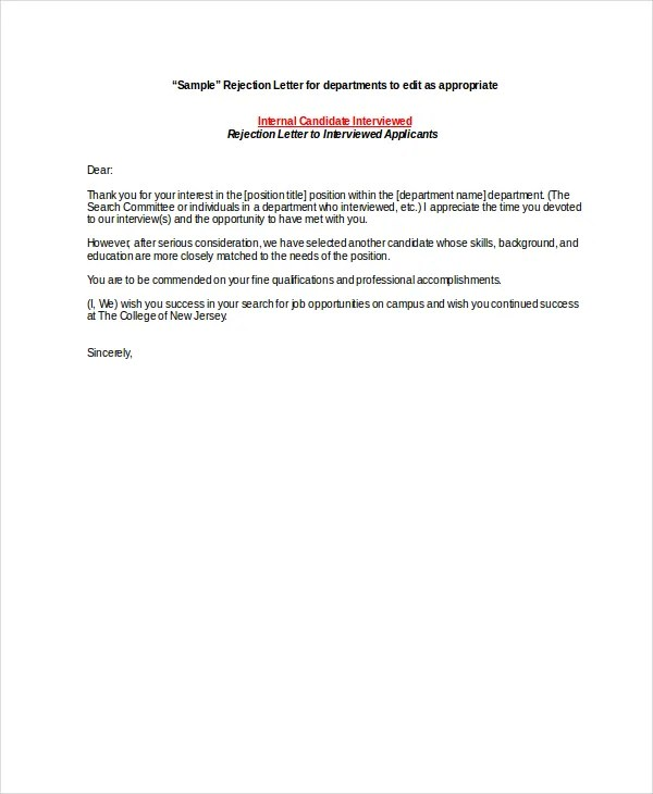 9+ Job Rejection Letters - Free Sample, Example, Format Free