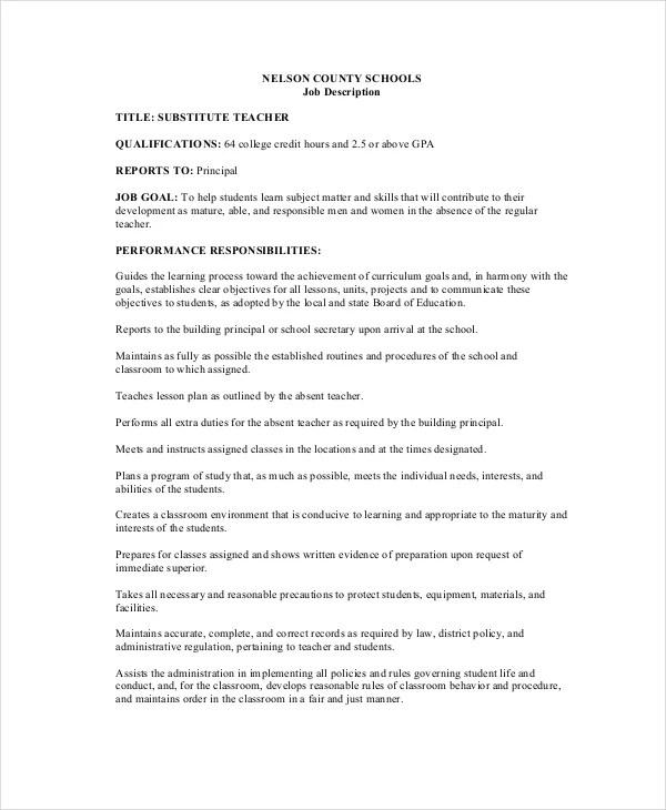 12+ Teacher Job Descriptions - Free Sample, Example, Format Free