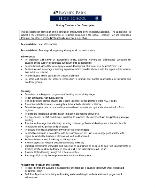 Teacher Job Description Teacher Responsibilities Teacher - History Teacher Resume