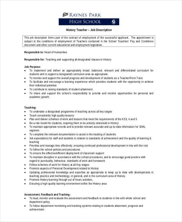 job history resume template