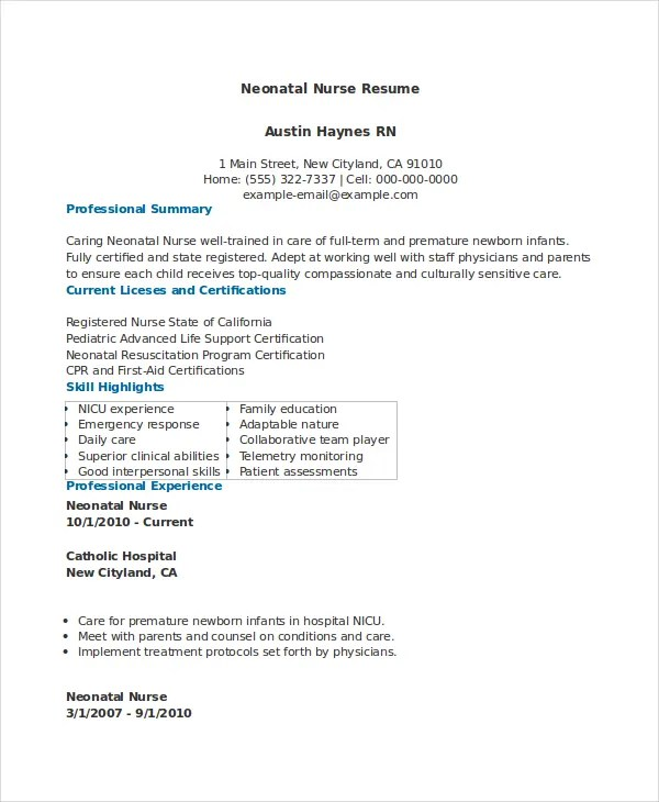nicu nurse resume sample