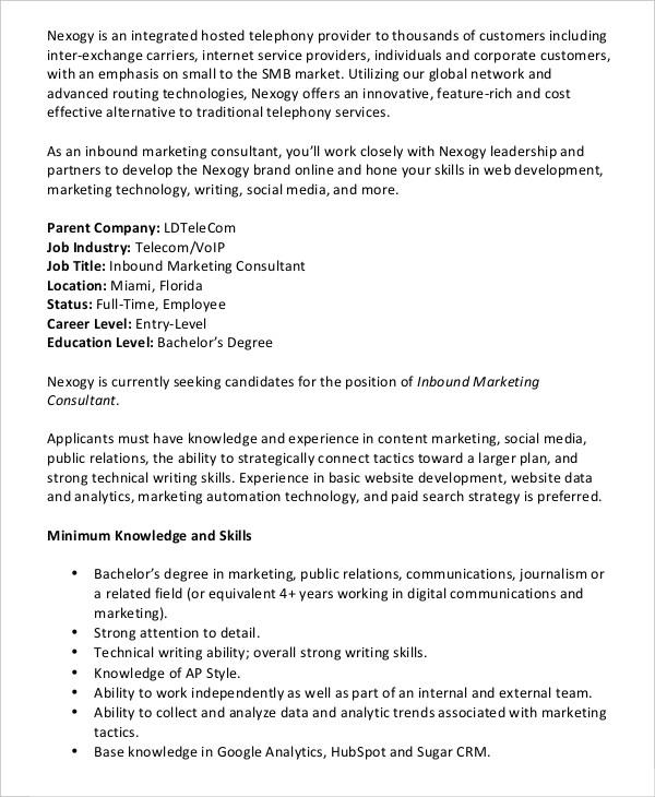 11+ Consultant Job Description Templates - Free  Premium Templates - marketing consultant job description