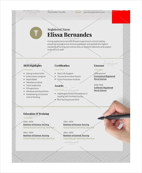 11+ Nurse Resume Templates - PDF, DOC Free  Premium Templates - Sample Nursing Resumes
