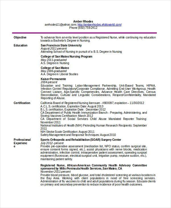 nursing resume layout