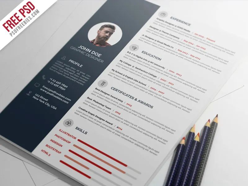 graphic designer cv template psd