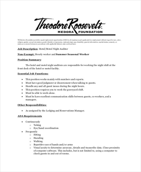 Auditor Job Description Example - 11+ Free PDF Documents Download