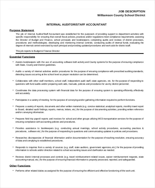 Staff Accountant Job Description Staff-Auditor-Job-Description - accounting clerk job description