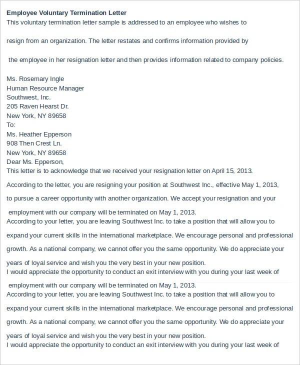 10+ Employee Termination Letter Templates - DOC, PDF, AI Free