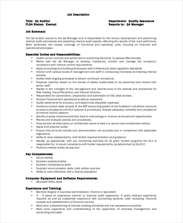 Auditor Job Description Example - 9+ Free PDF Documents Download - Auditor Job Description