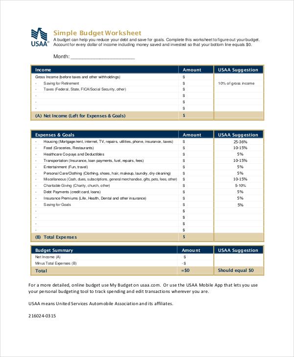 Printable Budget Worksheet - 18+ Free Word, Excel, PDF Documents