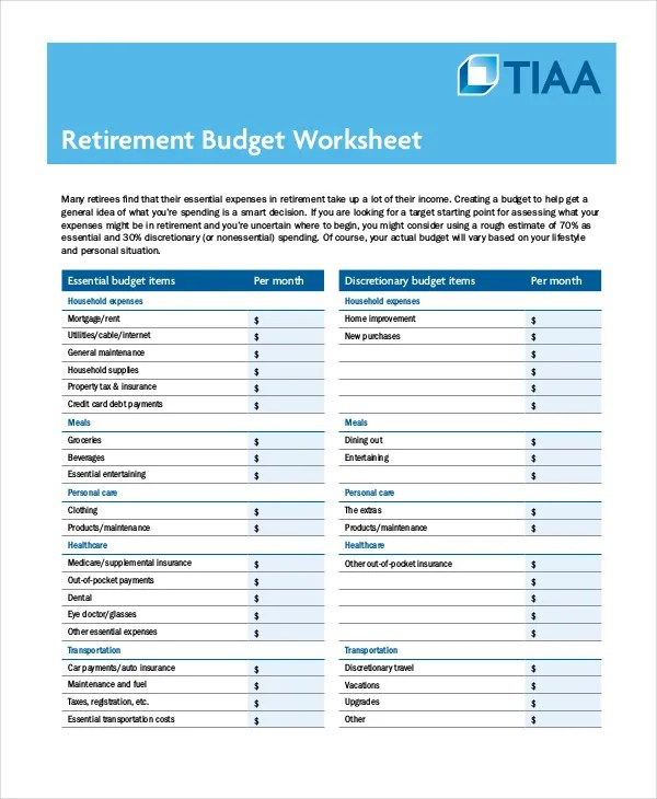 Printable Budget Worksheet - 18+ Free Word, Excel, PDF Documents