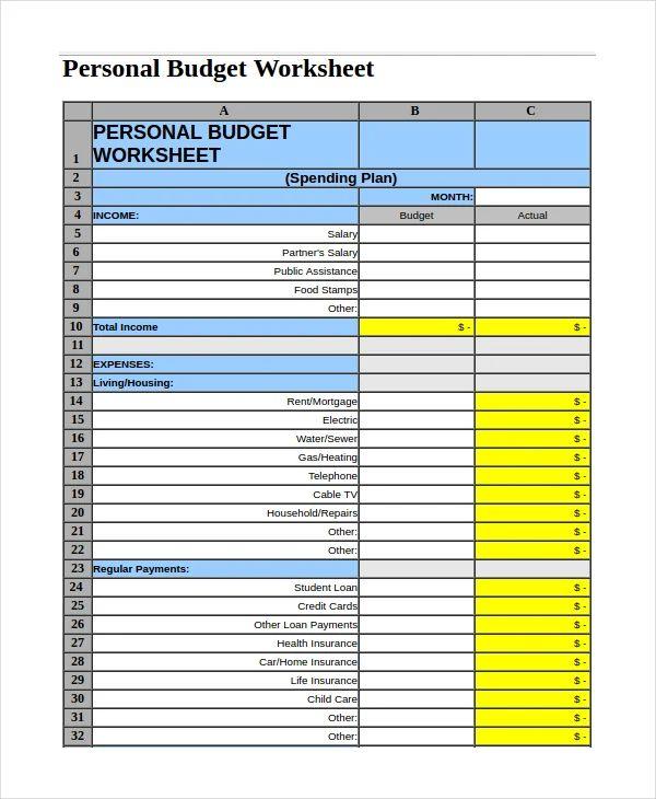 free monthly budget worksheet excel