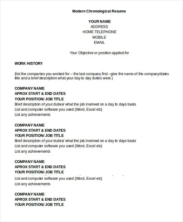 word chronilogical resume template