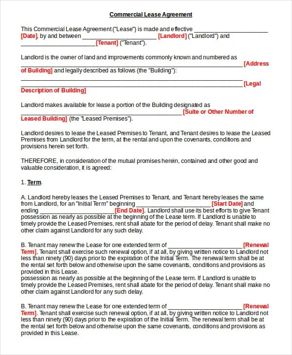 Lease Contract Form - 7+ Free Word, PDF Documents Download Free - rent contract templates