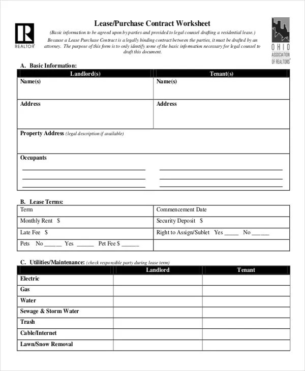 Lease Contract Form - 8+ Free Word, PDF Documents Download Free