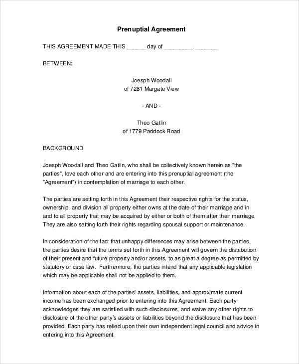 6+ Prenuptial Agreement Samples - Free Sample, Example, Format - sample prenuptial agreement template