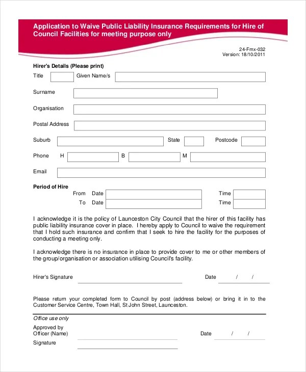 Liability Waiver Form - 11+ Free PDF Documents Download Free - liability contract template