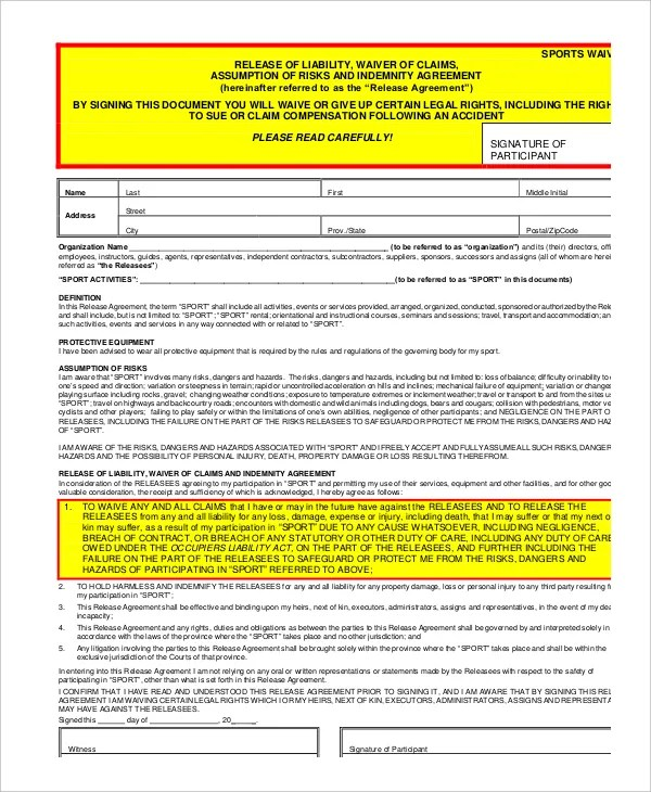 Liability Waiver Form - 11+ Free PDF Documents Download Free - free release of liability form