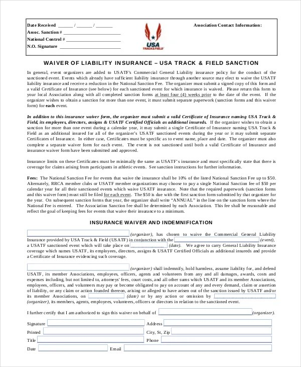 sports liability waiver form template - free release of liability form