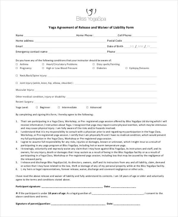 11+ Liability Waiver Form Templates - PDF, DOC Free  Premium - example of release of liability form