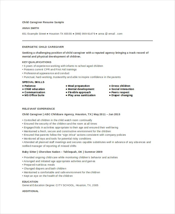 Caregiver Resume Example - 7+ Free Word, PDF Documents Download - Child Caregiver Resume