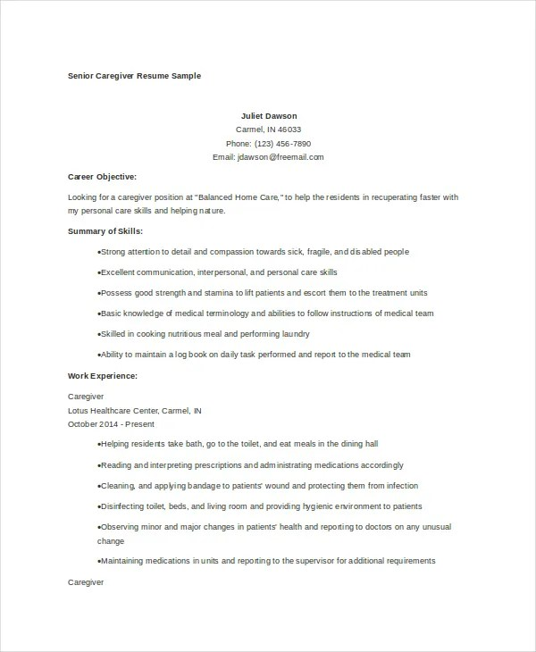 Caregiver Resume Example - 7+ Free Word, PDF Documents Download