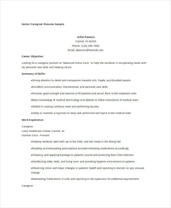caregiver resume template word