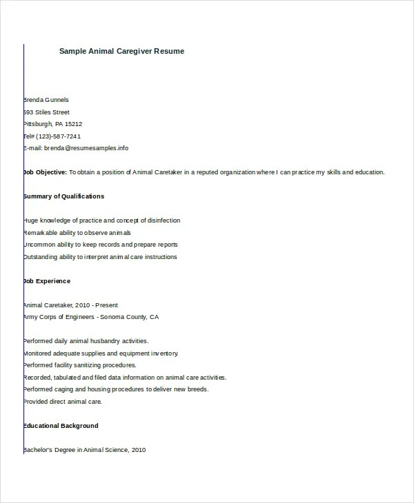 Caregiver Resume Example - 7+ Free Word, PDF Documents Download - caregiver skills resume