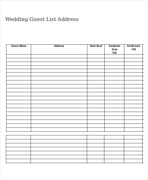 Wedding Guest List Template - 9+ Free Word, Excel, PDF Documents - list template
