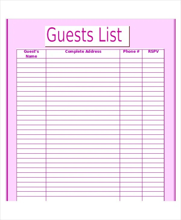 Wedding Guest List Template 8+ Wedding Guest List Wedding - guest list sample