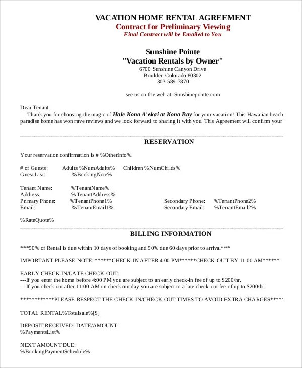 House Rental Agreement - 11+ Word, PDF Documents Download Free