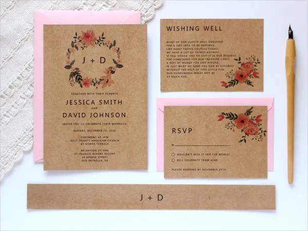21+ Simple Wedding Invitation Templates Free  Premium Templates - wedding rsvp envelope size