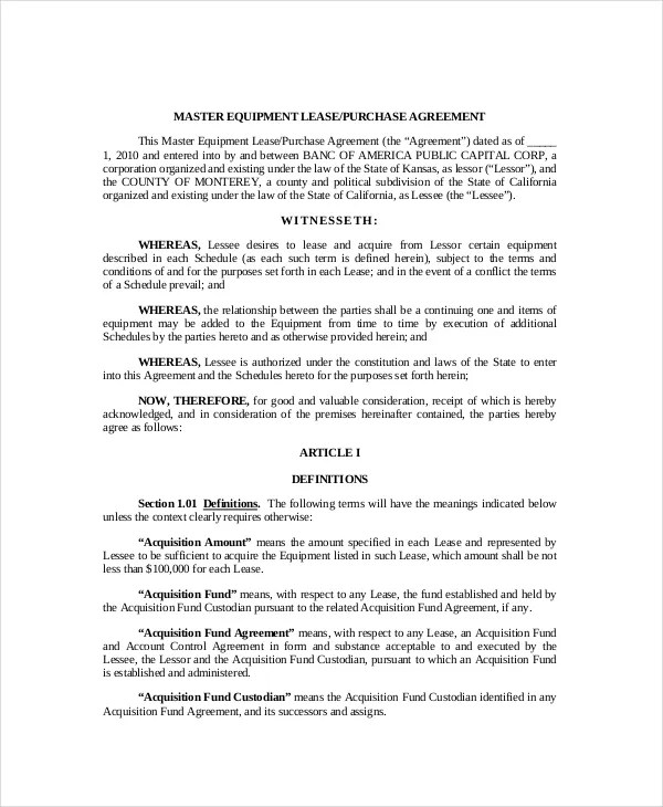 Lease Purchase Agreement - 9+ Free PDF, Word Documents Download - lease to buy agreement template