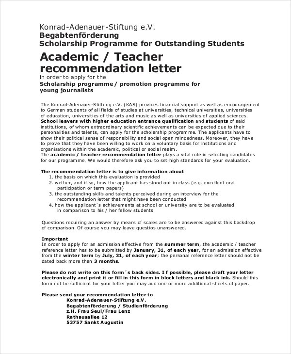 Sample Reference Letter For A Student Scholarship - Recommendation