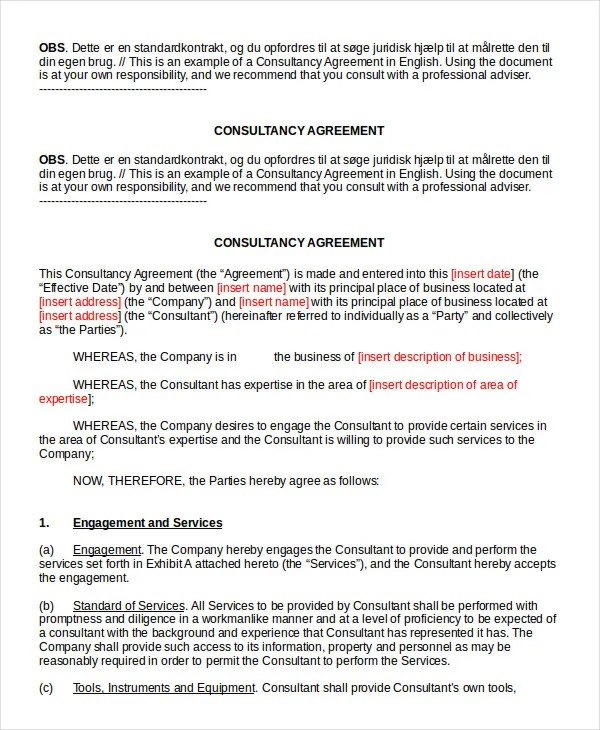 Consulting Agreement - 11+ Free Word, PDF Documents Download Free - consulting agreement