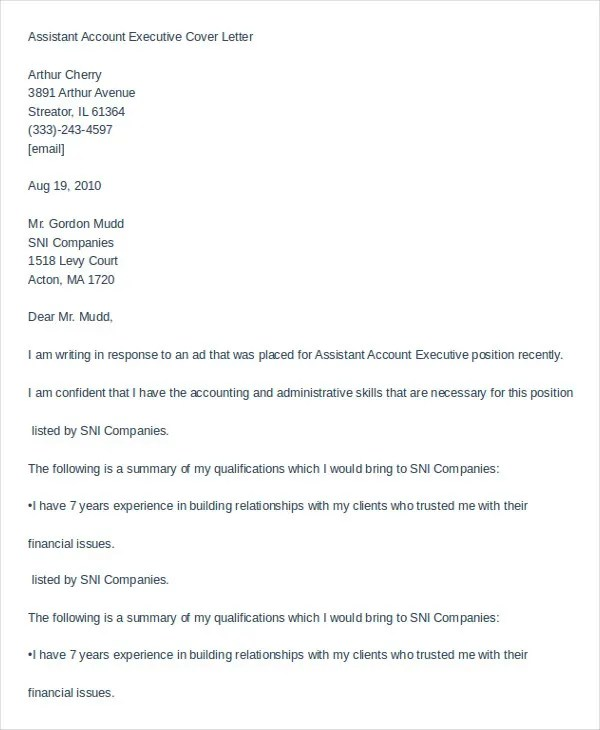 Executive Assistant Cover Letter - 11+ Free Word Documents Download