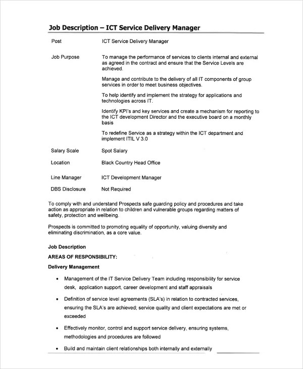 10+ IT Job Descriptions Templates - PDF, DOC Free  Premium Templates