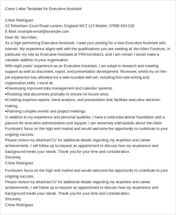 Executive Assistant Cover Letter - 11+ Free Word Documents Download - executive cover letter