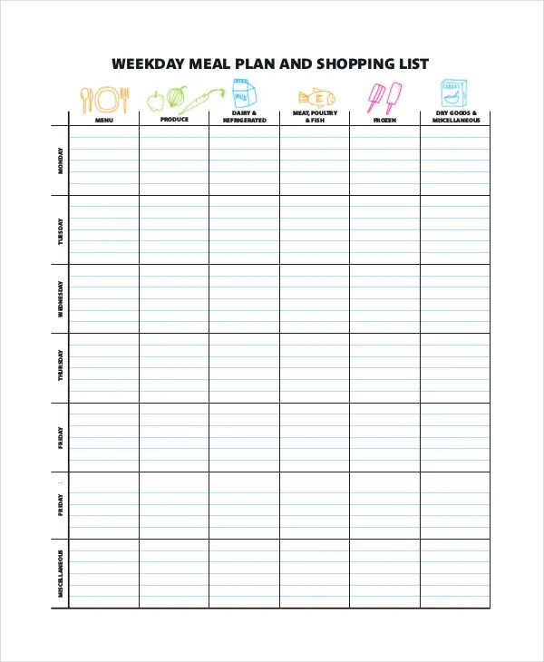Meal Planning Template Weekly Menu Planning Template Color Colorful - Printable Weekly Menu Planner With Grocery List