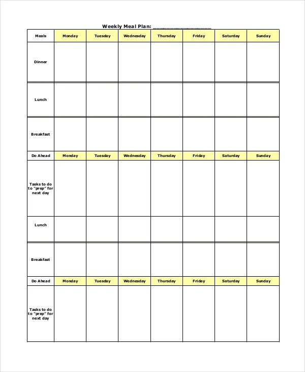 Weekly Meal Planner Template - 9+ Free PDF, Word Documents Download