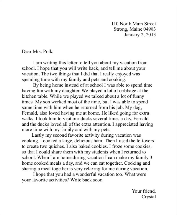 Friendly Letter Template - 7+ Free PDF, Word Documents Download