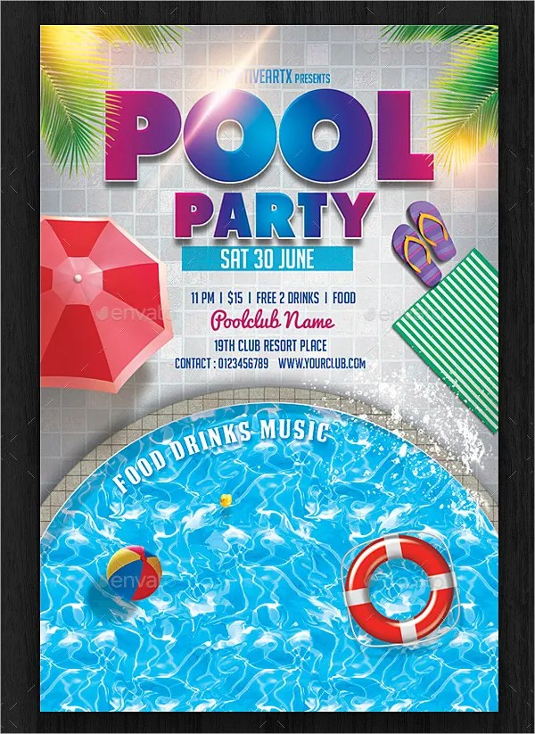 21+ Pool Party Invitations - Free PSD, Vector AI, EPS Format - flyer invitation templates free
