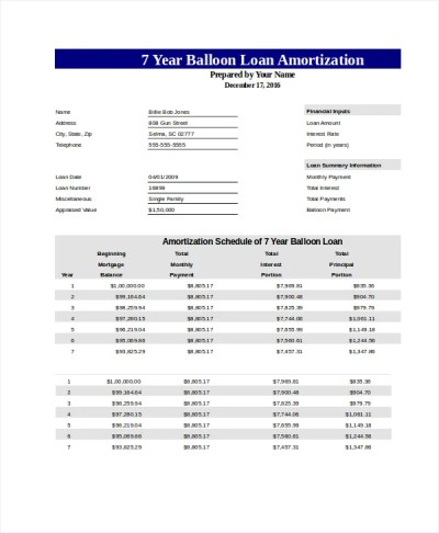 Free Amortization Schedule - Free PDF, Excel Documents Download | Free & Premium Templates