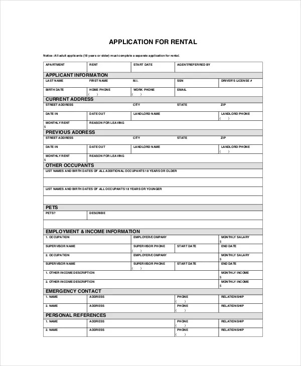 Apartment Application - 7+ Free PDF, Word Documents Download Free - tenant application form
