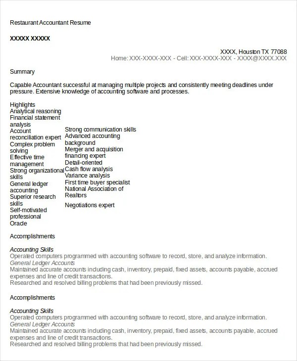 Restaurant Resume - 10+ Free Word, PDF Documents Download Free - Fixed Asset Accountant Sample Resume